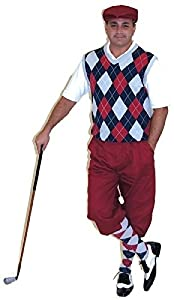 Mens Golf Outfit-Maroon Knickers Cap Navy Maroon Grey Sweater & Socks $125.00 AT vintagedancer.com