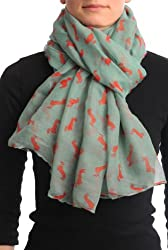 Turquoise With Rust Dogs Unisex Scarf & Beach Sarong - Green Designer Scarf