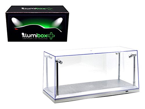 CLEAR DISPLAY SHOW CASE FOR 1/18 SILVER BASE with REPLACEABLE LED LIGHTS (Display Cases For Die Cast Cars compare prices)