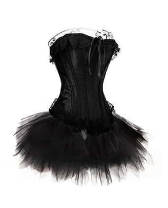 MUKA Burlesque Pink & Black Corset And Petticoat, Valentine's Gift Idea BLACK-L