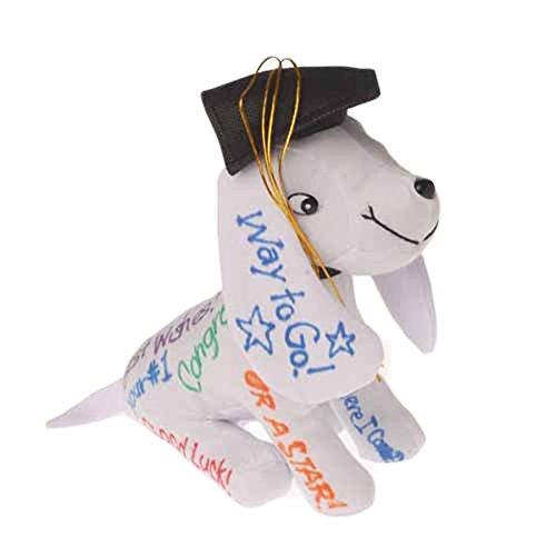 One Adorable Plush Autograph Graduation Puppy Dog With Cap