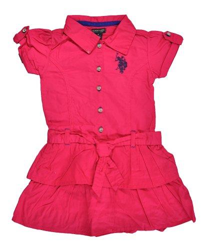 Us Polo Assn Girls Berry Bug Pink Ruffled Dress (6X)