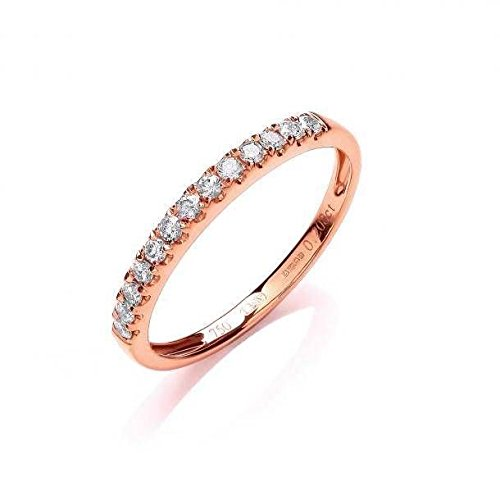 JQS - 18ct Rose Gold 0.20 Carat Diamond H/Si Half Set Eternity Style Wedding Ring