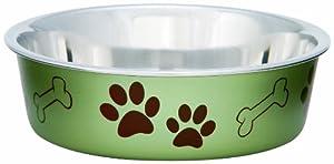 Loving Pets Metallic Bella Bowl Dog Bowl, Large, 2 Quarts, Artichoke