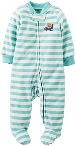 Carter'S Baby Boys' Striped Fleece Footie (Baby) - Bear - 9 Months front-162257
