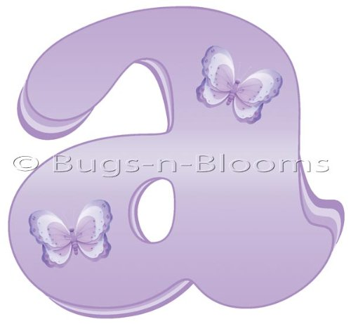 """""""A"""" Lavender Purple Butterfly Alphabet Letter Name Wall Sticker. Decal Letters For Children'S, Nursery & Baby'S Room Decor, Baby Name Wall Letters, Girls Bedroom Wall Letter Decorations, Child'S Names. Butterflies Mural Walls Decals Baby Shower front-954398"""