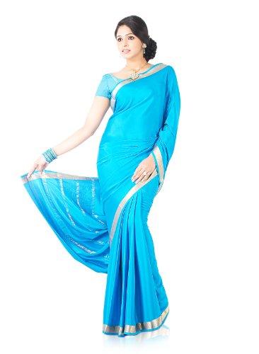 Indusdiva Women'S Electric Blue Mysore Crepe Silk Saree