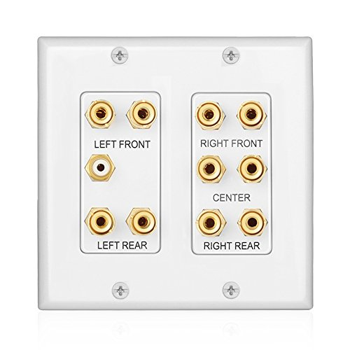 TNP Home Theater Wall Plate - 2-Gang 5.1 Surround Sound Audio Distribution Panel Premium Gold Plated Copper Banana Binding Post Coupler Plug for 5 Speaker, 1 RCA Jack for Subwoofer (White) (Home Theater Panel compare prices)