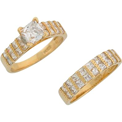 9ct Yellow Gold White CZ Modern Ladies Engagement And Wedding Ring Duo Set