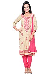 Kanchnar Women's Beige and Peach Brasso Cotton Embroidered Party Wear Dress Material for Traditional Wedding Wear,Navratri Special Dress,Great Indian Sale,Diwali Gift to Wife,Mom,Sister,Friend