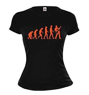 Girlie T-Shirt The Evolution of guitar-XS-Black-Orange