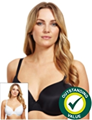2 Pack Padded Underwired T-Shirt Plunge DD-G Bras