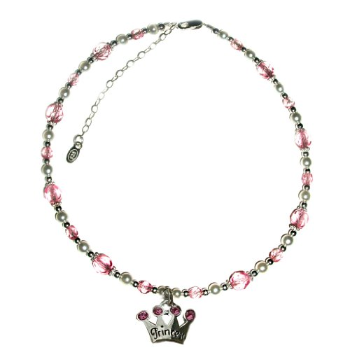 Sterling Silver Children's Princess Jewelry Necklace for Girls, Pearls & Pink Crystals and Silver Tiara Charm in Heart Gift Box, 12-14 inches