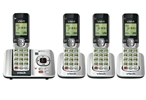 Vtech DECT CS6529-4 6.0 4-Handset Cordless Phone System with Digital Answering Machine, Handset Speakerphones