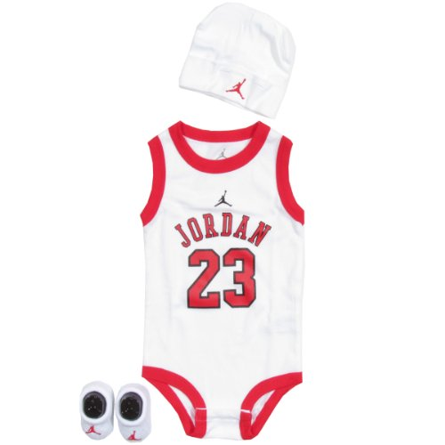 JORDAN 3 PIECE INFANT SET IBSP524-WHT (ONE, WHITE/RED)