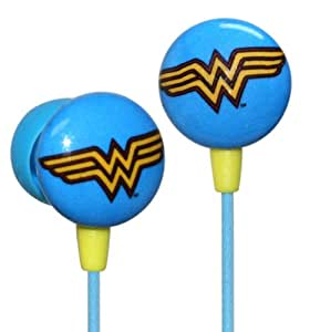 iHip DCF10163WW Classic Wonder Woman Logo Hi-Fi Noise Reducing Ear Buds (Earphones) Blue/Yellow (Discontinued by Manufacturer)