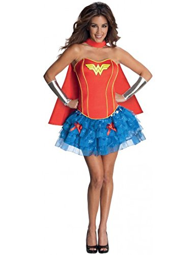 Ladies Corseted Tutut Wonder Woman Adult Fancy Dress corset Costume-L