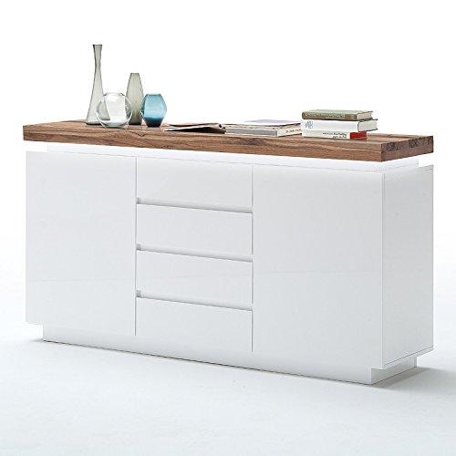 Sideboard-Romina-Asteiche-Massivholz-Oberplatte-Kommode-Schrank-Matt-Lack-Weiss-LED-Beleuchtung