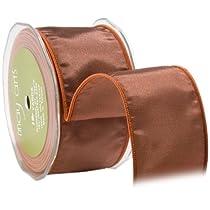 May Arts 3-Inch Wide Ribbon Copper Taffeta