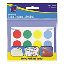 Removable Label Pads, 3/4\'\' Dia., Assorted, 480/Pack, Sold as 1 Package