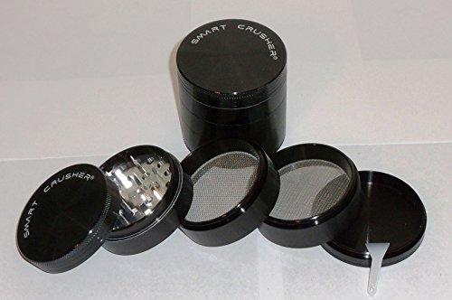 Authentic SMART CRUSHER 5 Piece Herb Spice Coffee Tobacco Pollen Grinder +Free Pollen Scraper (2.5 Premium Black)