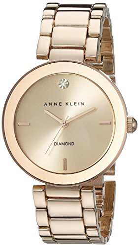 Anne Klein Women's AK/1362RGRG Rose GoldTone DiamondAccented Bracelet Watch