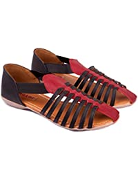 Nector Faux Leather Black Sandals, Flats, Chappals, Slippers, Footwear For Women, Ladies, Girls For Casual And... - B01DNSD084