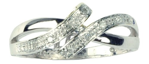 9ct White Gold Diamond Set Crossover Ring - Size