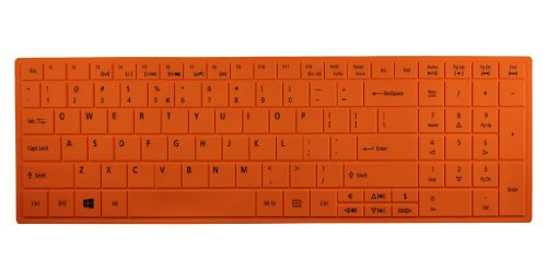 Aspire Aspire E1-531 E1-531G E1-571 E1-571G Ne-522 Travelmate P253(With Number Key) Silicone Keyboard Protector Skin Cover Us Layout Orange