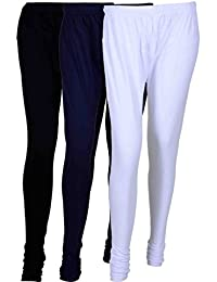 Fashion And Freedom Women's Cotton Leggings Pack Of 3_FFCL_BNvW_BLACK-NAVYBLUE-WHITE_FREESIZE