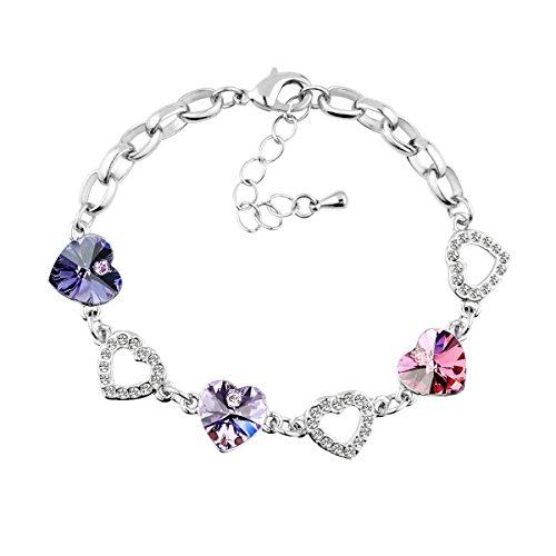 Le Premium® - Braccialetto con charm e cristalli Swarovski viola scuro, violetto e rosa