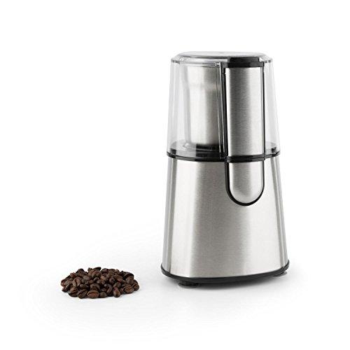Klarstein Speedespresso Macinacaffè Elettrico A Lame in Acciaio Inox (200 Watt, fino a 65 g di chicchi di caffè, Interruttore di sicurezza) Argento