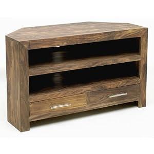sheesham tv corner unit brown kitchen home. Black Bedroom Furniture Sets. Home Design Ideas