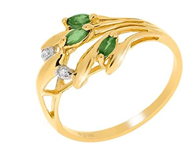 Ivy Gems 9ct Yellow Gold Marquise Cut Emerald & Diamond Dress Ring Size L