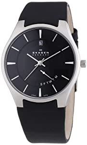 Skagen Herren-Armbanduhr XL Analog Quarz Leder 989XLSLB