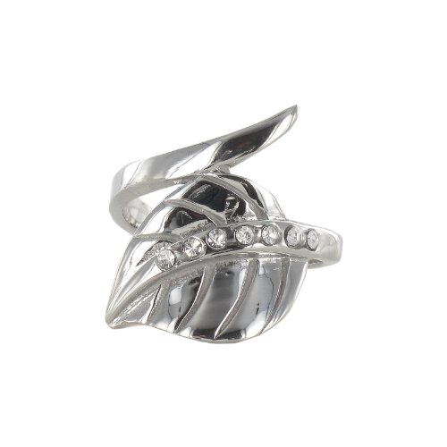 Stainless Steel Leaf Ring, Size 7