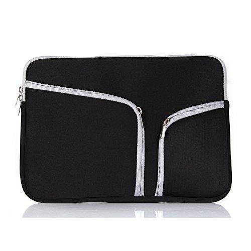 Corlife Macbook Airは&PRO&ユニバーサルラップトップ、ネットブック用のジッパーブリーフケースハンドバッグスリーブバッグカバーケース (11インチ, 黒)
