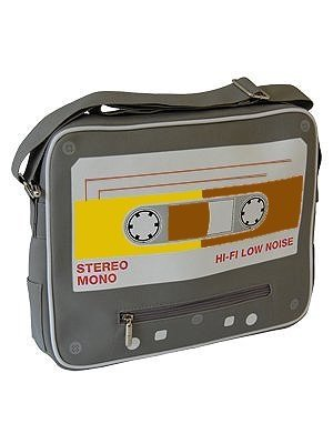 Cassette Tape Sports Bag with adjustable strap. Eye-catching design.