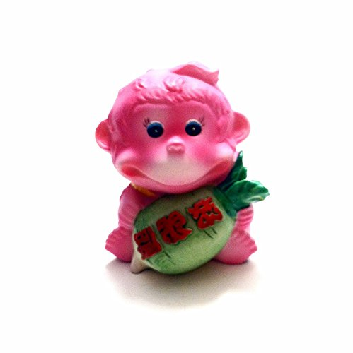 Spray Painted Pink Smiling Monkey Holding a Pineapple with Chinese Character Brings Good Money and Wealth - Fast Shipping from IL, US