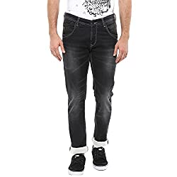 Spykar Mens Black Skinny Fit Low Rise Cotton Jeans