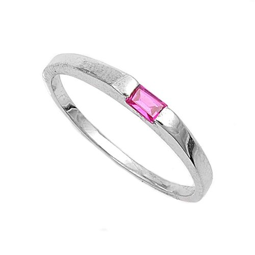Sterling Silver Baby Ring with Ruby Colored CZ - 2mm Band Width - 1mm Face Height - Sizes: 1-4 - Rhodium Plated