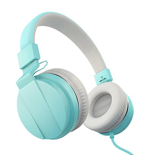 Hephis Lightweight Foldable Kids Headphones On Ear Headphone Blue Headphones for girl Headphones Over Ear Wired Controlling Headset Soft Headphones (Cool Headphones Cheap compare prices)