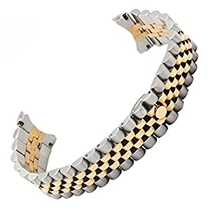Solid Steel (Two Tone) Watch Strap Bracelet Replacement Watch Band for Rolex (20mm)