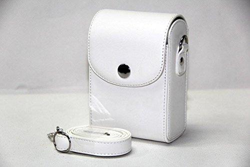 MoreGift4U Schutz PU-Leder Kamera-Schulter-Rucksack Reisen Rucksack-Tasche Tasche Hülle für Samsung WB800F WB201F WB200F WB280F WB150 / F Weiß + Free-Schulter-Ansatz-Bügel-Gurt