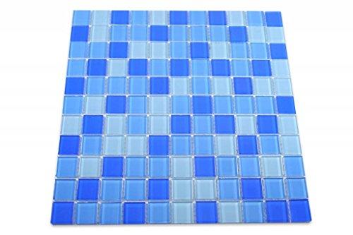 GLASMOSAIK FLIESEN - Aqua - blau mix