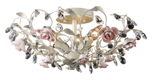 Artistic Lighting 18096/3 Heritage 3-Light Semi-Flush In Cream and Porcelain Roses