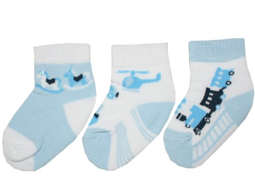 Baby Boys Ankle Length 3 Pack of Socks with Helicopter/Rocking Horse/Train Design (6-12 Months)