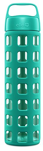 Ello Pure BPA-Free Glass Water Bottle with Lid, Teal Squares, 20 oz. (Takeya Glass Water Bottle compare prices)