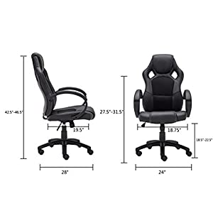 OFFICE MORE Leather Executive Chair Swivel Office Desk Chair Race Car Style Bucket Seat High
