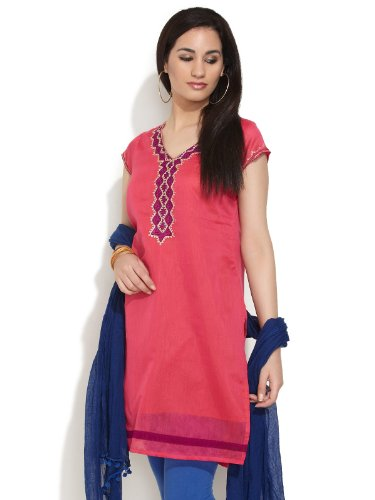 Alayna Women's Chanderi Pink Chic And Stylish Kurta (multicolor)